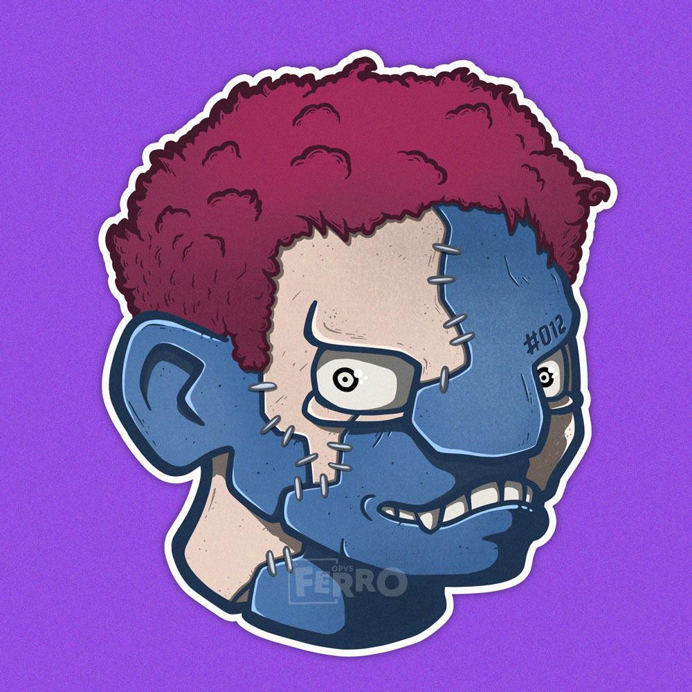 testa di zombie con cuciture