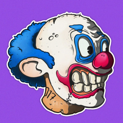 zombo #17 testa di zombie clown Ferruccio carubini